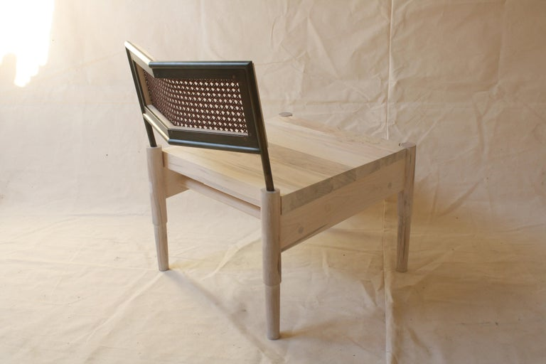 American Camber, Modern Lounge Chair with a Woven Leather Cane Backrest by Laylo Studio For Sale