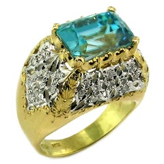 8.69ct Cambodian Blue Zircon in 18kt Hand Engraved Ring, Handmade in Italy