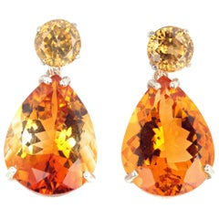 Glittering Cambodian Zircons and Citrine Drop Sterling Silver Earrings