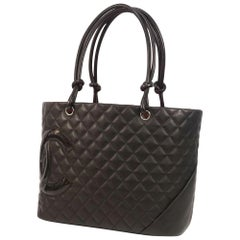Cambon  large tote  Womens  tote bag A25169  black x black Leather