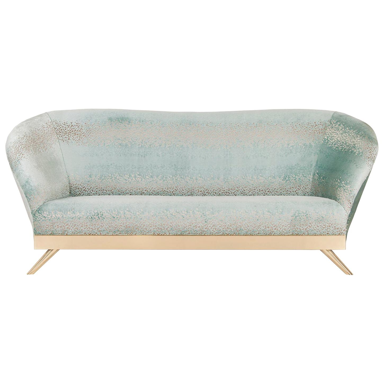 Cambridge 3-Seat Sofa Polished Brass Mint Green Jacquard Velvet