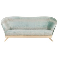 Cambridge 3-Seat Sofa Polished Brass Mint Green Jacquard Velvet