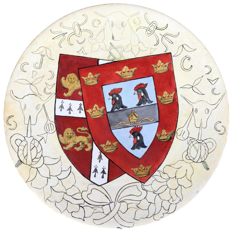 Cambridge Hand Painted Wall Plaque, Jesus College Arms, circa 1880 For Sale