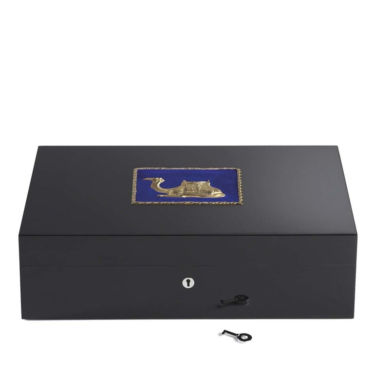 Italian Camel Blue Humidor For Sale
