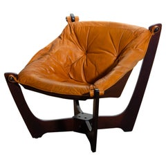 Camel / Cognac Leather Lounge Chair by Odd Knutsen for Hjellegjerde Møbler, 1970
