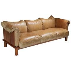 Camel Leather and Walnut Sofa from De Pas, D'Urbino Lomazzi for Padova, Italy