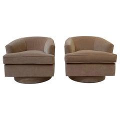 Camel Velvet Swivel Chairs, a Pair