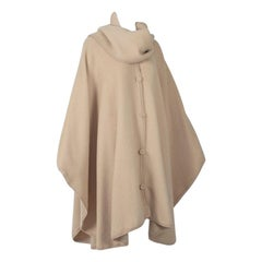 Camel Peruvian Alpaca Poncho with Attached Scarf, Jacome Estate - One Size, 1960