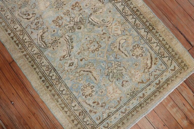Tribal Camel Powder Blue Antique Persian Serab Decorative Rug Mat For Sale