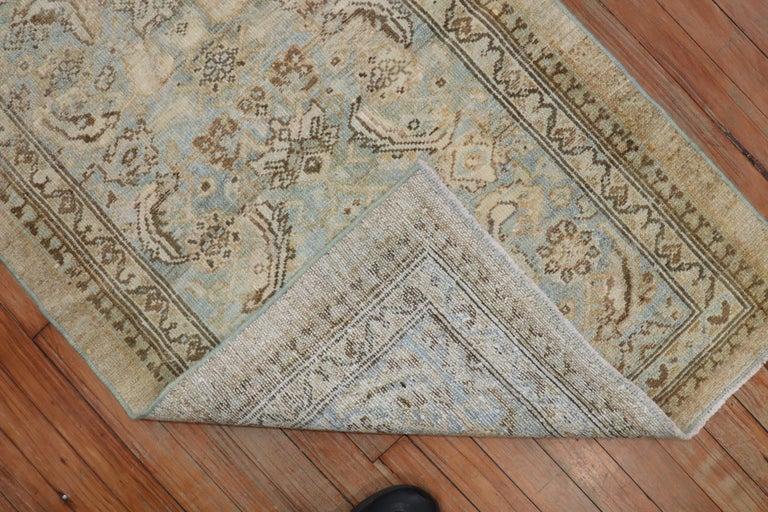 Hand-Woven Camel Powder Blue Antique Persian Serab Decorative Rug Mat For Sale