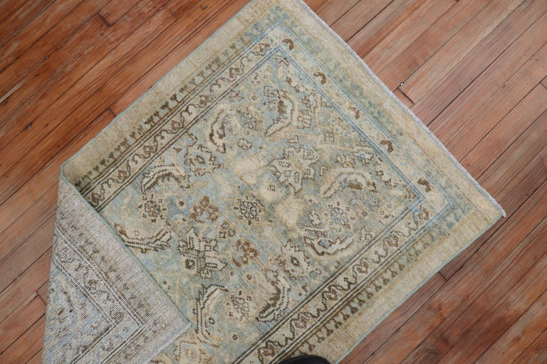 Camel Powder Blue Antique Persian Serab Decorative Rug Mat In Good Condition For Sale In New York, NY