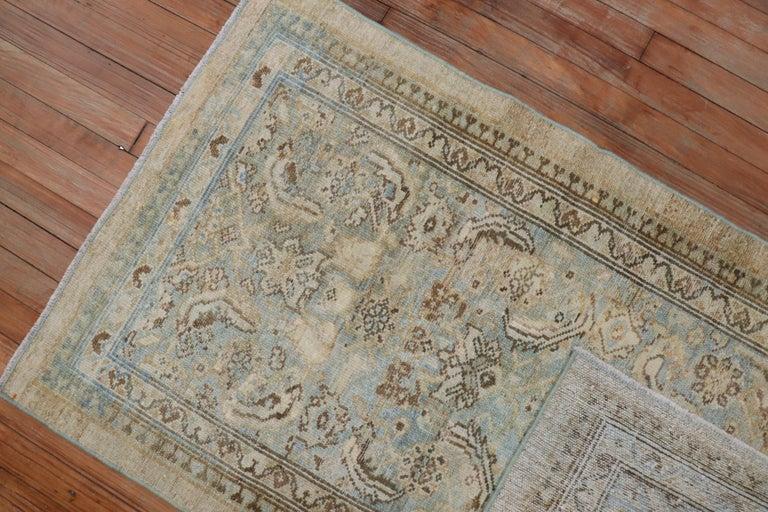 20th Century Camel Powder Blue Antique Persian Serab Decorative Rug Mat For Sale