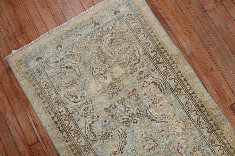 Wool Camel Powder Blue Antique Persian Serab Decorative Rug Mat For Sale