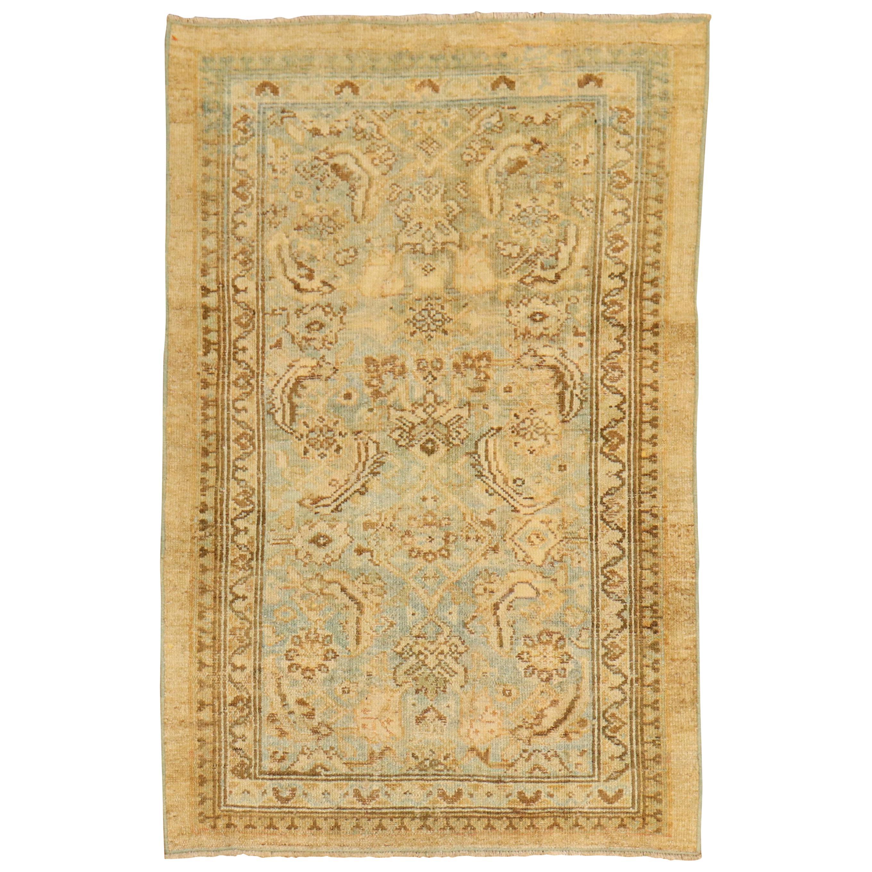 Camel Powder Blue Antique Persian Serab Decorative Rug Mat