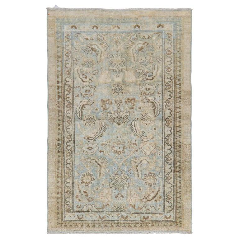 Camel Powder Blue Antique Persian Serab Decorative Rug Mat For Sale
