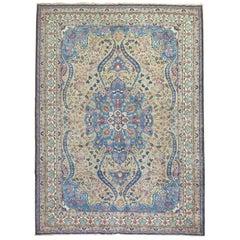 Camel Royal Blue Persian Tabriz Rug