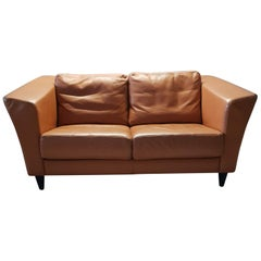 Camel Thick Quality Leather 2-Seat Sofa by Molinari, 1990s