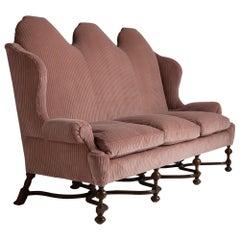 Camelback Walnut Sofa
