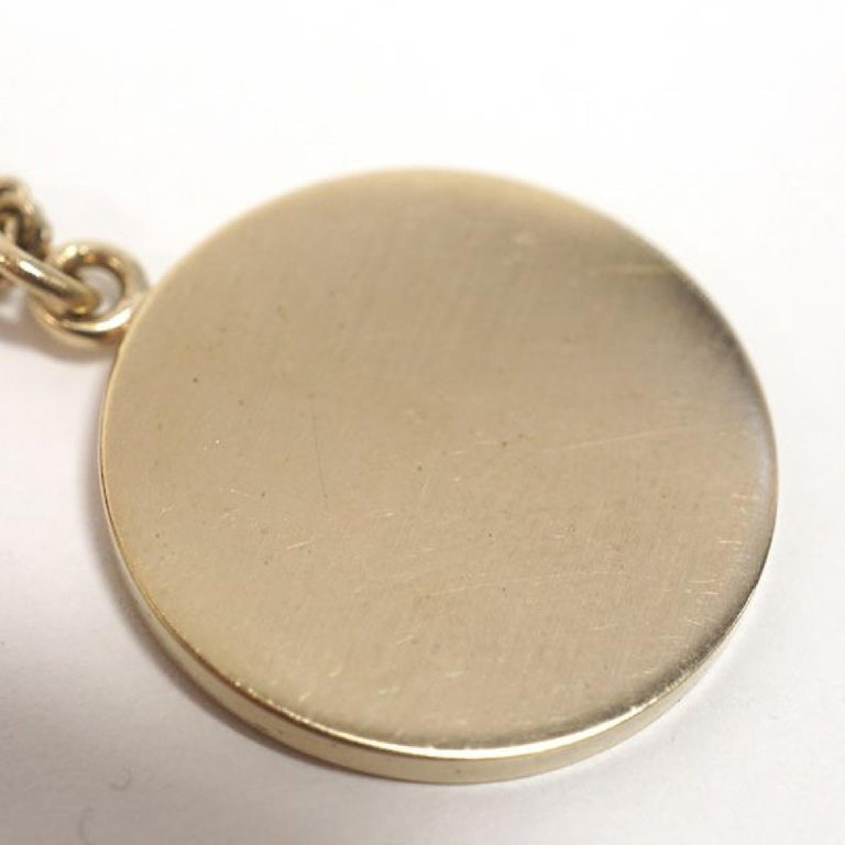 camelia  coco mark  pendant  coin GP  necklace  pink x Mat gold Leather In Excellent Condition For Sale In Takamatsu-shi, JP
