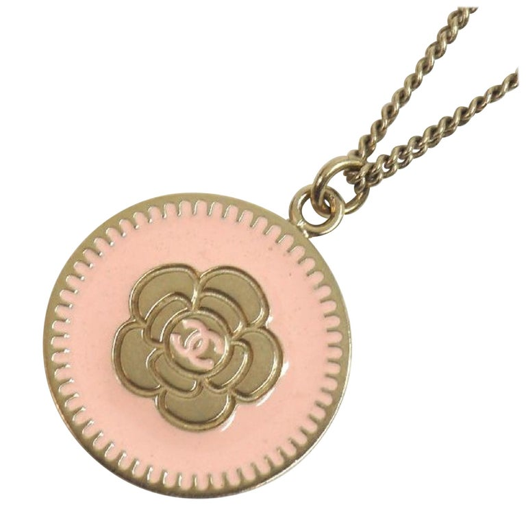 camelia  coco mark  pendant  coin GP  necklace  pink x Mat gold Leather For Sale