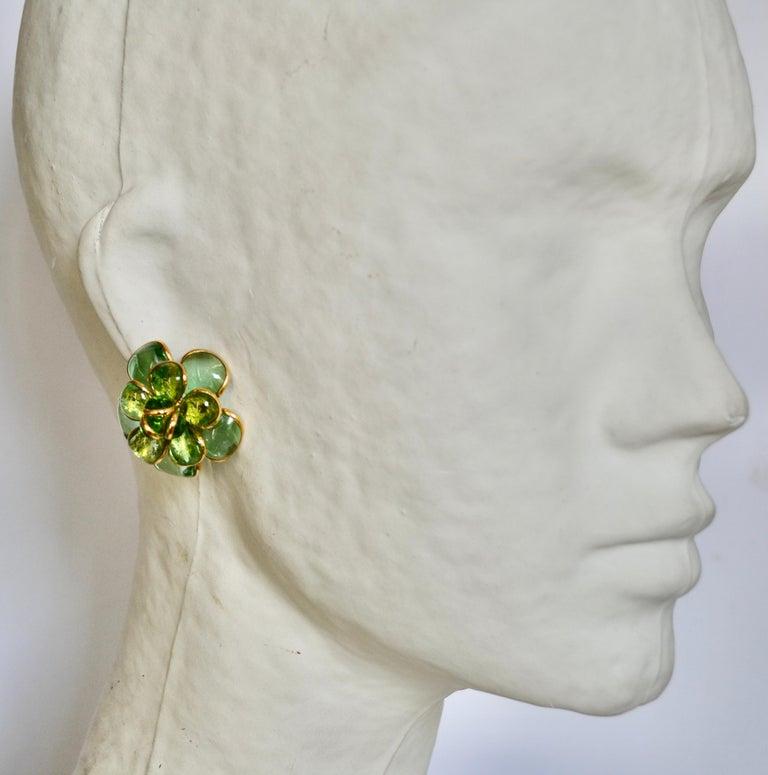 Women's or Men's Camelia Pate de Verre Camelia Clip Earrings For Sale