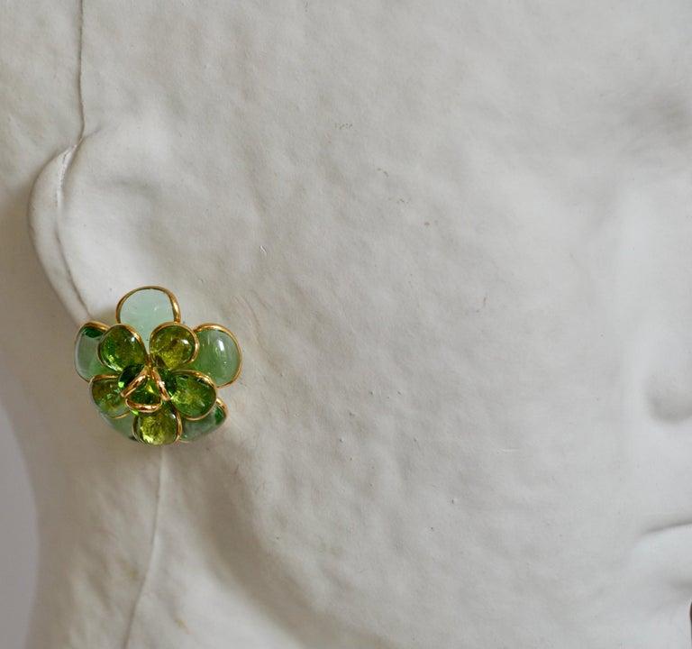 Camelia Pate de Verre Camelia Clip Earrings For Sale 1