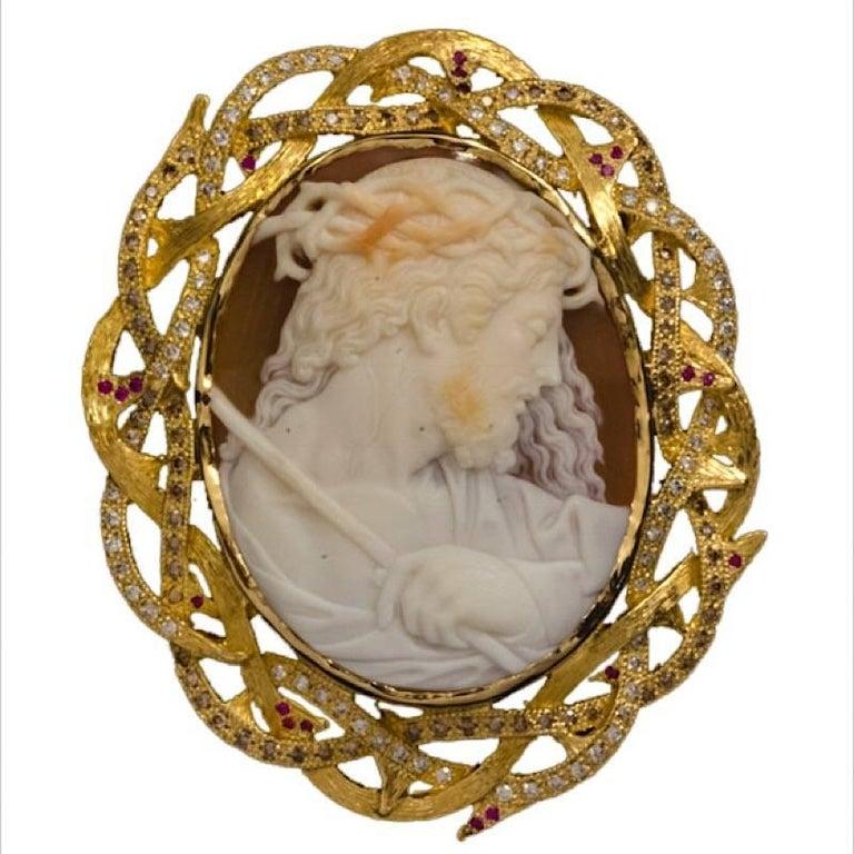 Cameo 1890s Jesus Set in 14 Karat Gold with Diamonds, Rubies and Brown Diamonds
