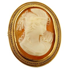 Cameo Brooch, 18 Karat Yellow Gold