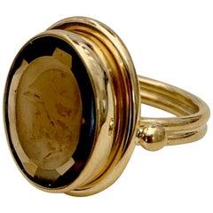 Cameo Cognac Quartz 18 Karat Gold Archaic Style Ring