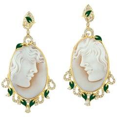 Cameo Diamond 18 Karat Gold Earrings