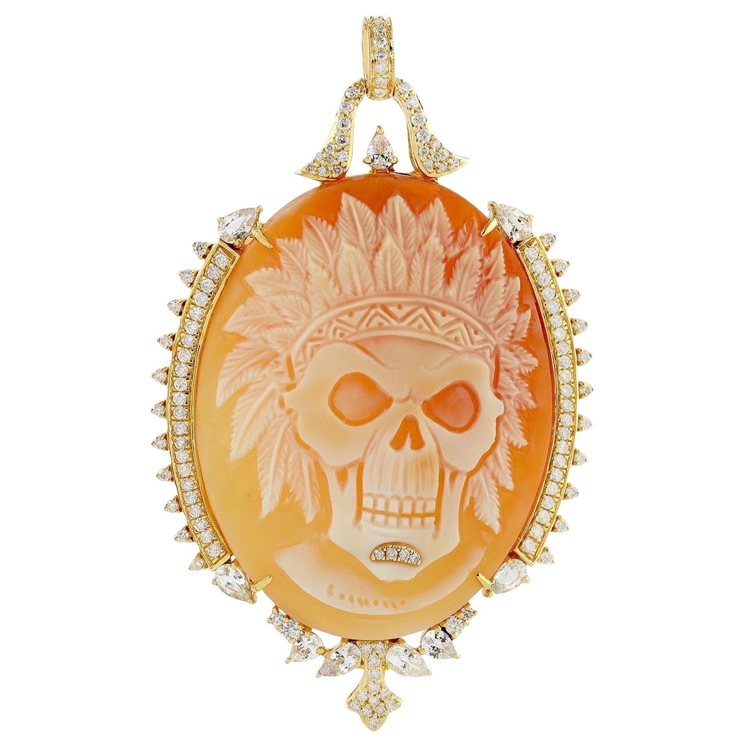 Cameo Diamond 18 Karat Gold Skull Pendant Necklace