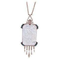 Cameo Diamond 18 Karat Gold Soul Mate Pendant Necklace