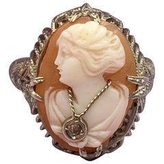 Cameo Diamond Ring 14 Karat White Gold Habille Filigree Antique Belle Époque