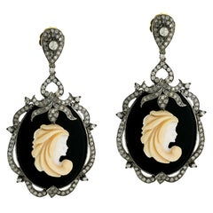 Cameo Earring with Diamonds in Silver