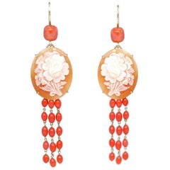 Cameo Earrings Carved Pink Flowers Coral