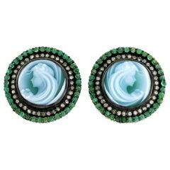 Cameo Emerald Diamond Stud Earrings
