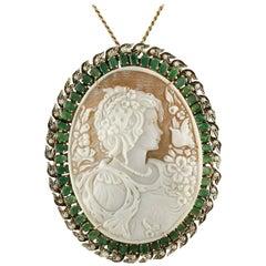 Cameo Emeralds  Diamonds Rose Gold Silver Pendant