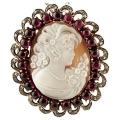 Cameo, Garnets, Diamonds, Rose Gold and Silver Vintage Brooch/Pendant