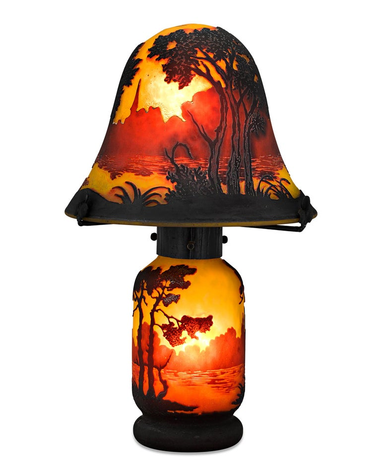 French Cameo Glass Lamp by Muller Frères For Sale