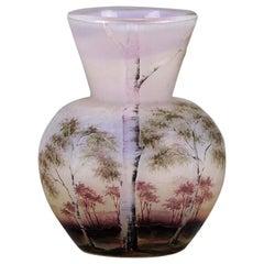 Cameo Glass 'Paysage Rose' by Daum Fréres