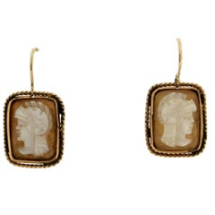 Cameo Gold Drop Earrings