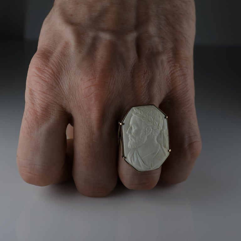 Cameo Ring Carved Lava, circa 1940s For Sale 7