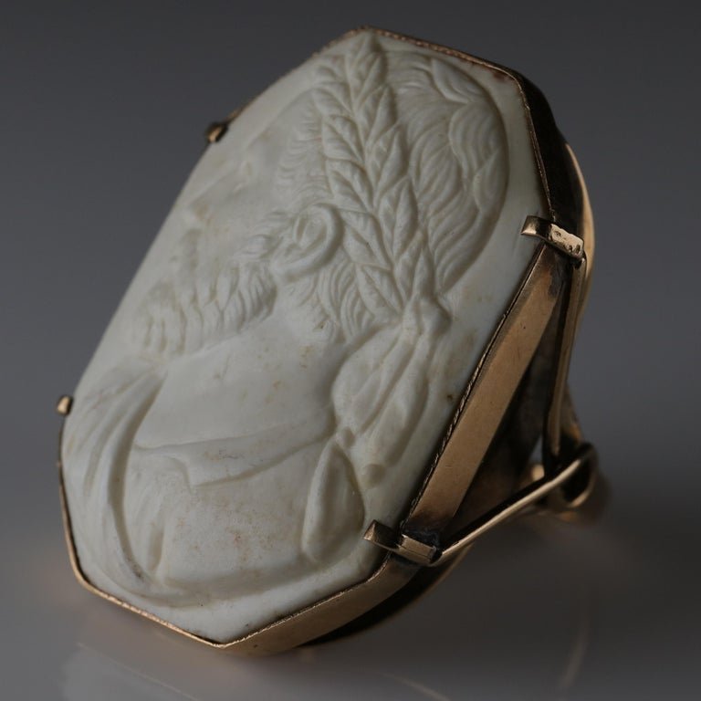 Cameo Ring Carved Lava, circa 1940s For Sale 3