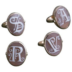 Cameo Signet Ring with Initial A in 9 Carat Gold from Iosselliani