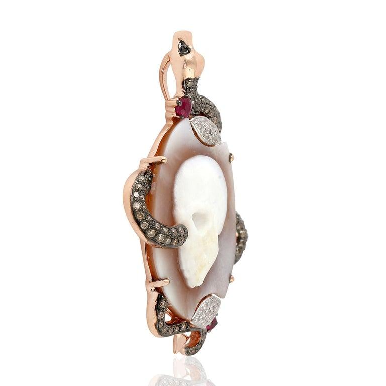 Contemporary Cameo Skull Snake Diamond 18 Karat Gold Pendant Necklace For Sale