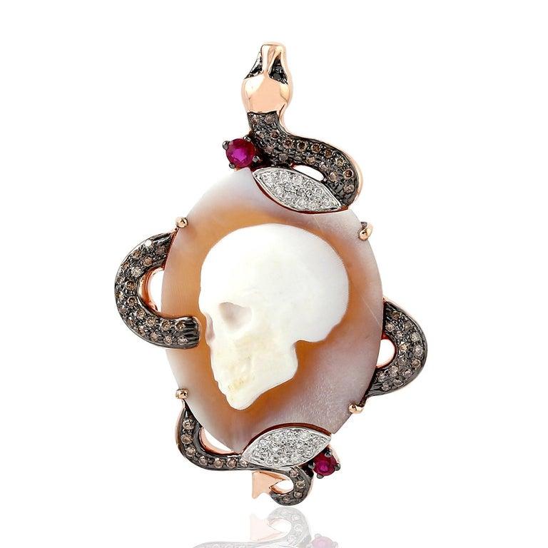 Oval Cut Cameo Skull Snake Diamond 18 Karat Gold Pendant Necklace For Sale
