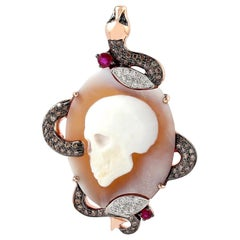 Cameo Skull Snake Diamond 18 Karat Gold Pendant Necklace