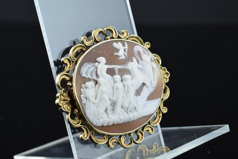 European Cameo with Gold '9-Karat' Frame; Brooch, Victorian Era, circa 1860 For Sale