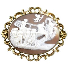 Cameo with Gold '9-Karat' Frame; Brooch, Victorian Era, circa 1860