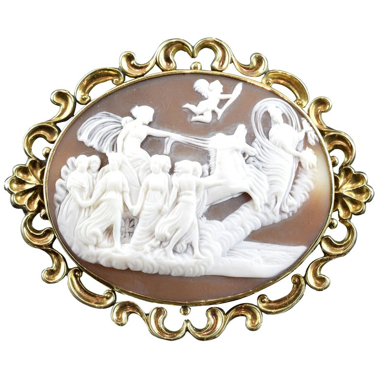 Cameo with Gold '9-Karat' Frame; Brooch, Victorian Era, circa 1860 For Sale